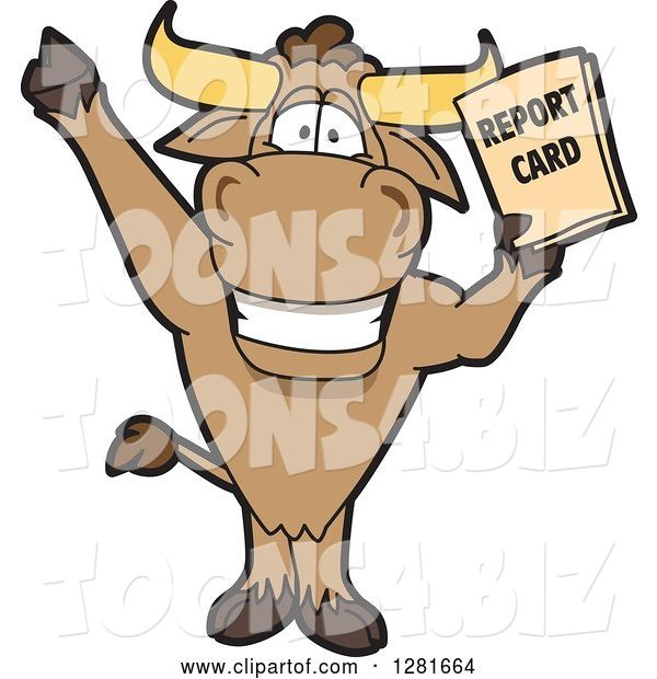 Vector Illustration of a Cartoon School Bull Mascot Standing, Cheering and Holding a Report Card