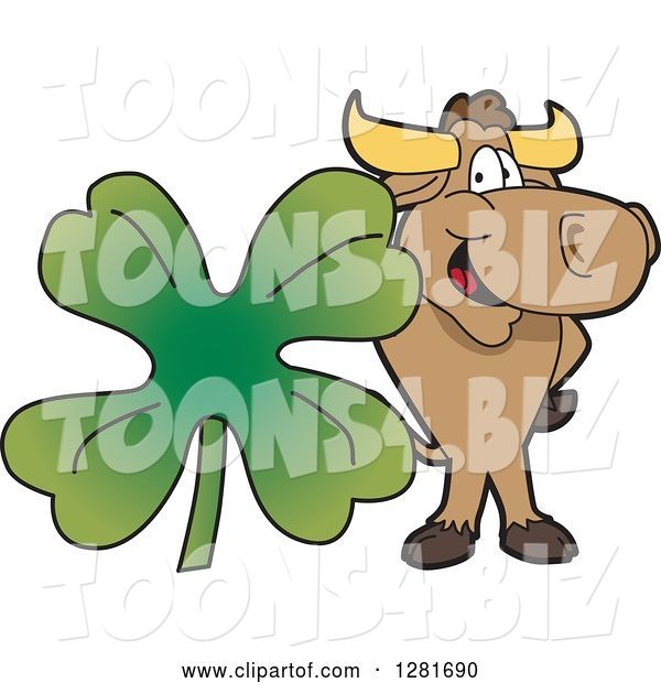 Vector Illustration of a Cartoon School Bull Mascot Standing with a Giant Four Leaf St Patricks Day Clover Shamrock