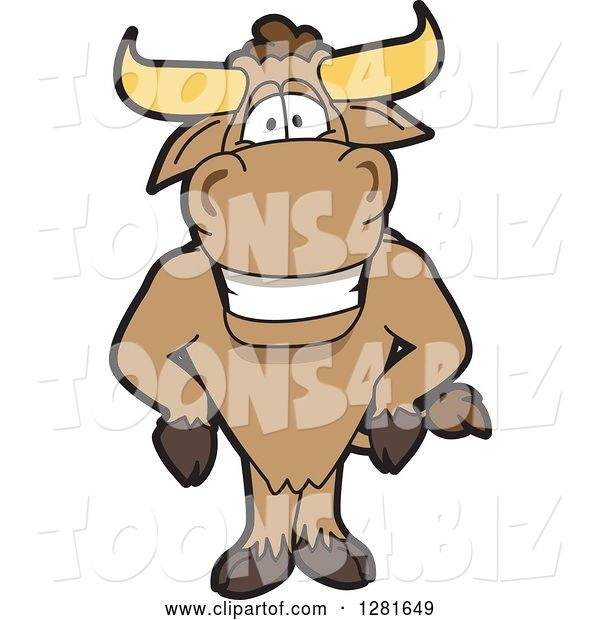 Vector Illustration of a Cartoon School Bull Mascot with His Hands on His Hips