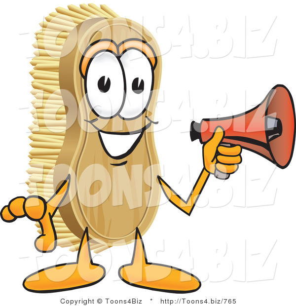 Vector Illustration of a Cartoon Scrub Brush Mascot Holding a Red Megaphone Bullhorn