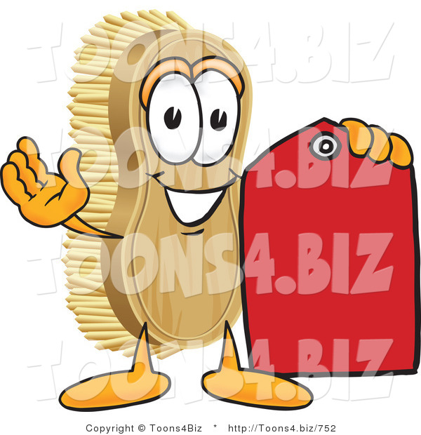 Vector Illustration of a Cartoon Scrub Brush Mascot Holding a Red Sales Price Tag