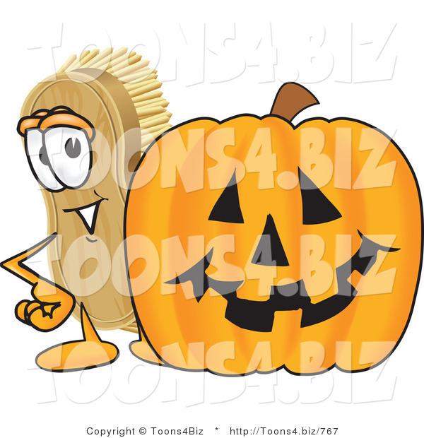 : Vector Illustration of a Cartoon Scrub Brush Mascot Standing by a Carved Halloween Pumpkin