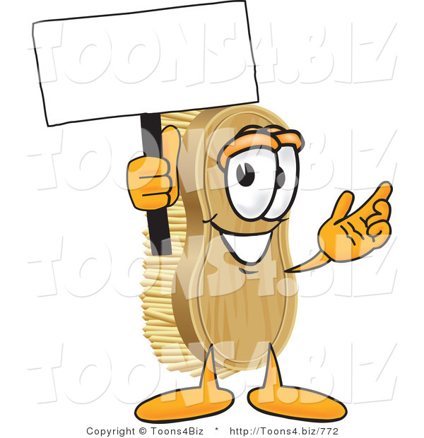 Vector Illustration of a Cartoon Scrub Brush Mascot Waving a Blank White Advertising Sign