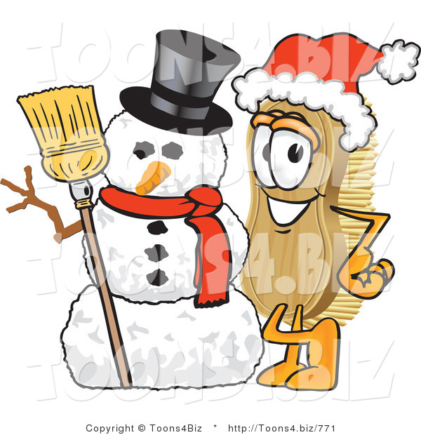 Vector Illustration of a Cartoon Scrub Brush Mascot Wearing a Santa Hat and Standing with a Snowman