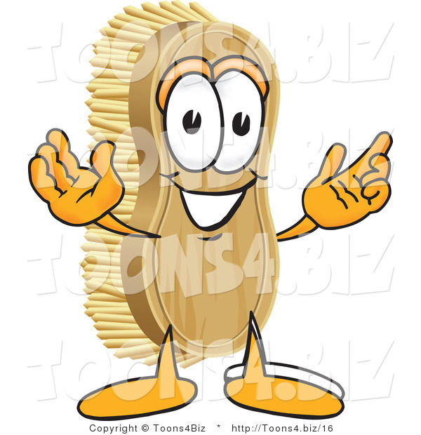 Vector Illustration of a Cartoon Scrub Brush Mascot with Welcoming Open Arms