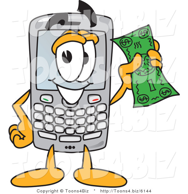 Vector Illustration of a Cartoon Smart Phone Mascot Holding a Bank Note