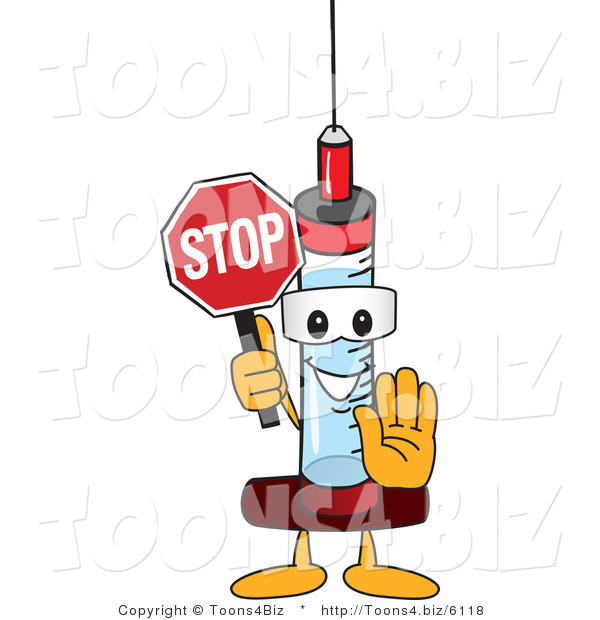 Vector Illustration of a Cartoon Syringe Mascot Holding a Stop Sign