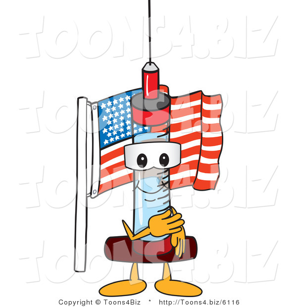 Vector Illustration of a Cartoon Syringe Mascot Pledging Allegiance to the American Flag