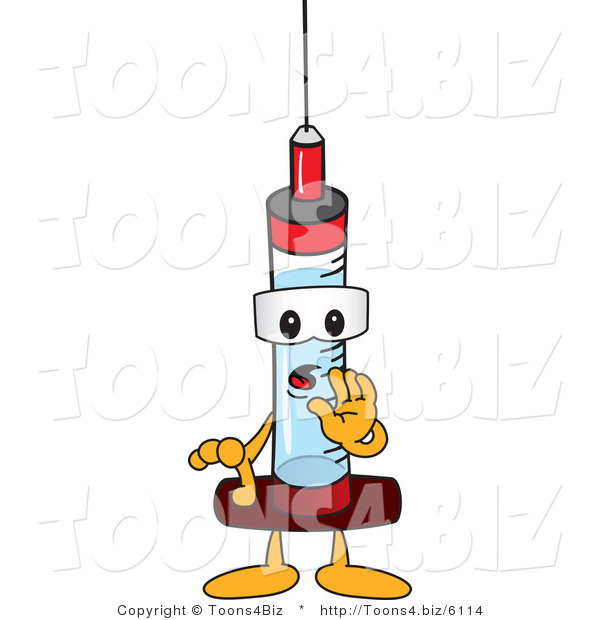Vector Illustration of a Cartoon Syringe Mascot Whispering