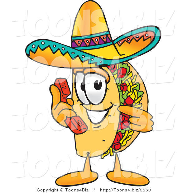 Vector Illustration of a Cartoon Taco Mascot Holding a Telephone