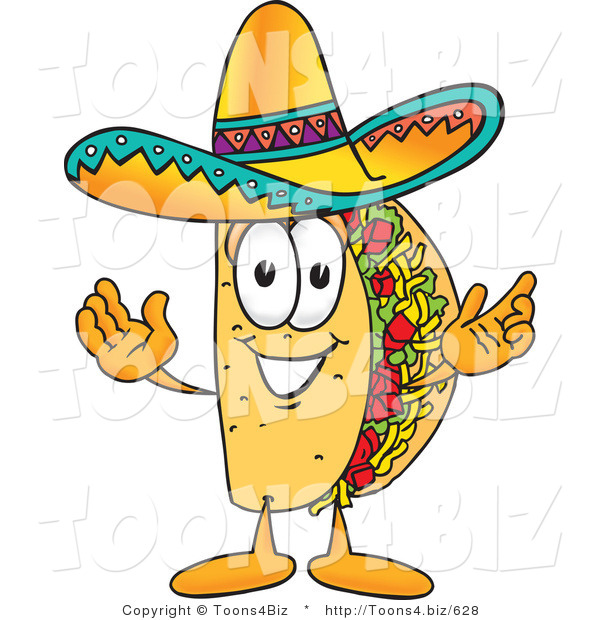 Vector Illustration of a Cartoon Taco Mascot with Welcoming Open Arms