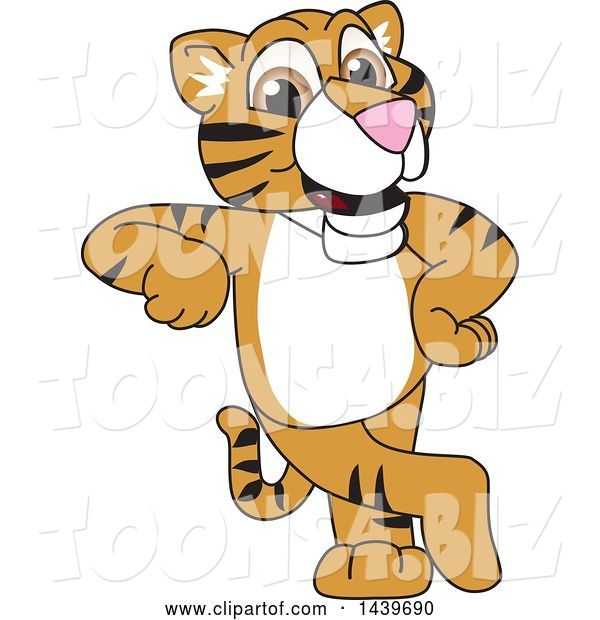 Vector Illustration of a Cartoon Tiger Cub Mascot Leaning