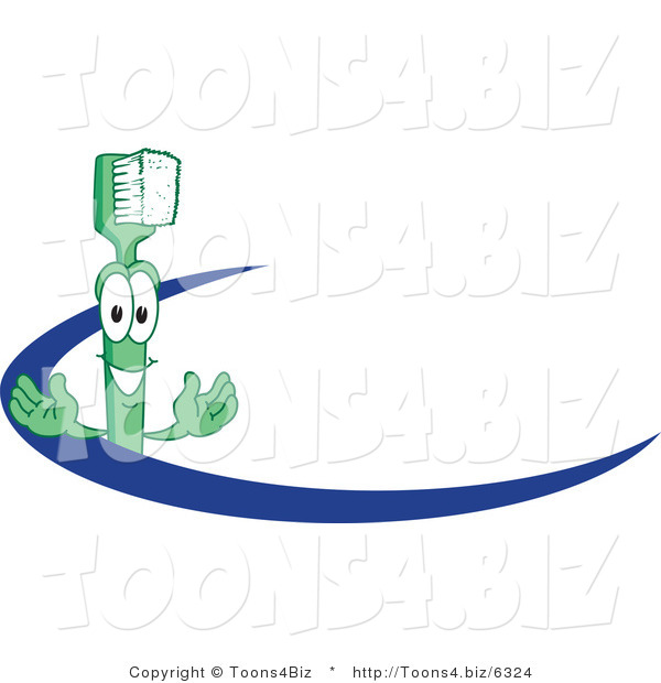 : Vector Illustration of a Cartoon Toothbrush Logo Mascot with a Blue Dash