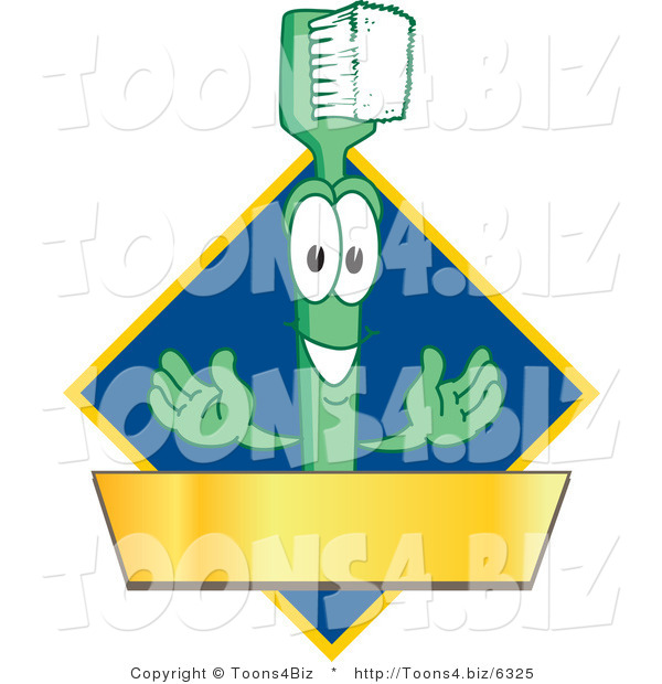 Vector Illustration of a Cartoon Toothbrush Logo Mascot with a Gold Banner on a Blue Diamond