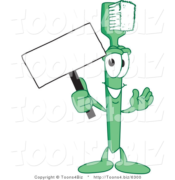 Vector Illustration of a Cartoon Toothbrush Mascot Holding a Small Blank Sign