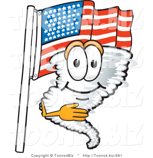 Vector Illustration of a Cartoon Tornado Mascot Pledging Allegiance to an American Flag