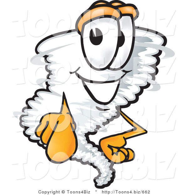 Vector Illustration of a Cartoon Tornado Mascot Pointing Outwards at the Viewer