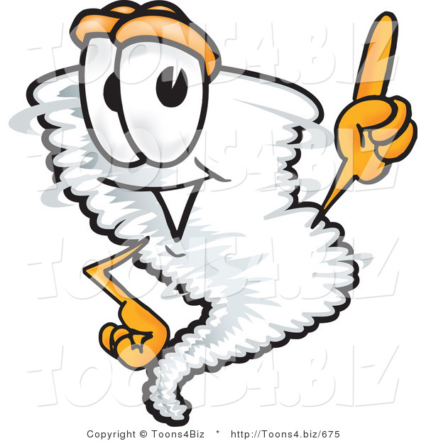 Vector Illustration of a Cartoon Tornado Mascot Pointing Upwards