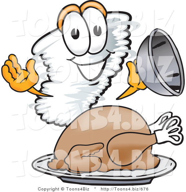 Vector Illustration of a Cartoon Tornado Mascot Serving a Thanksgiving Turkey on a Platter