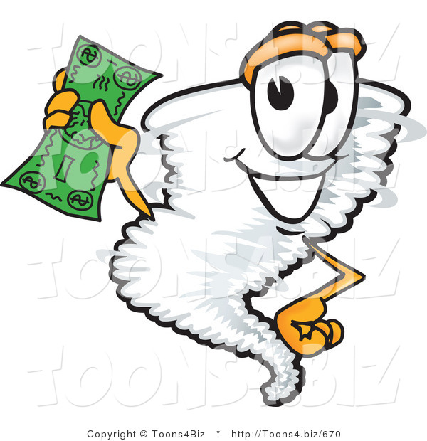 Vector Illustration of a Cartoon Tornado Mascot Waving a Green Dollar Bill
