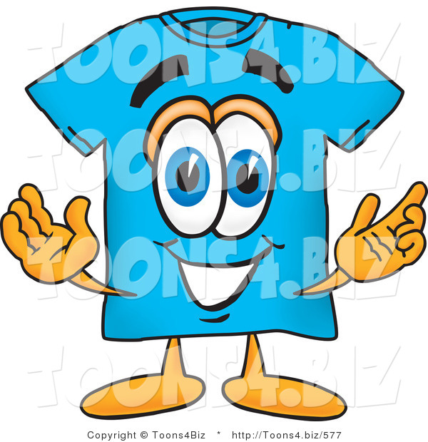 Vector Illustration of a Cartoon T-Shirt Mascot with Welcoming Open Arms