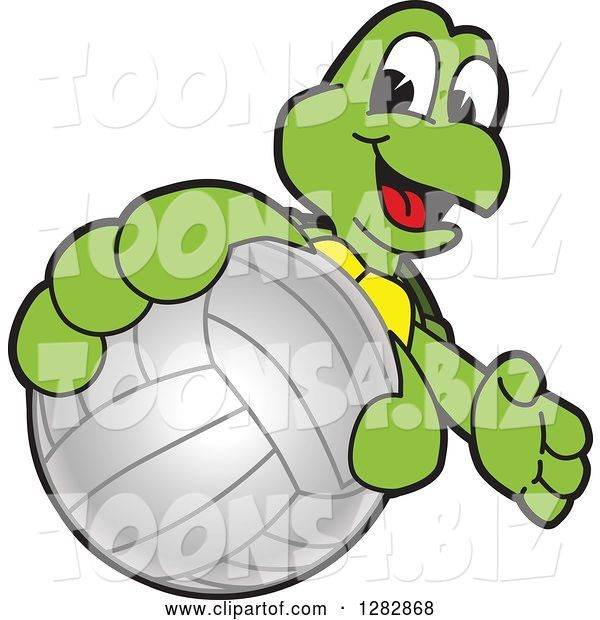 Vector Illustration of a Cartoon Turtle Mascot Catching or Holding out a Volleyball