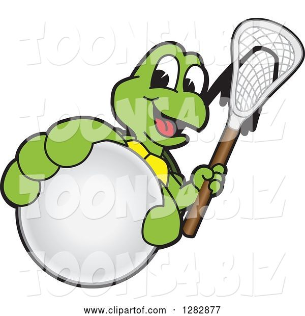 Vector Illustration of a Cartoon Turtle Mascot Holding out a Lacrosse Ball and Stick