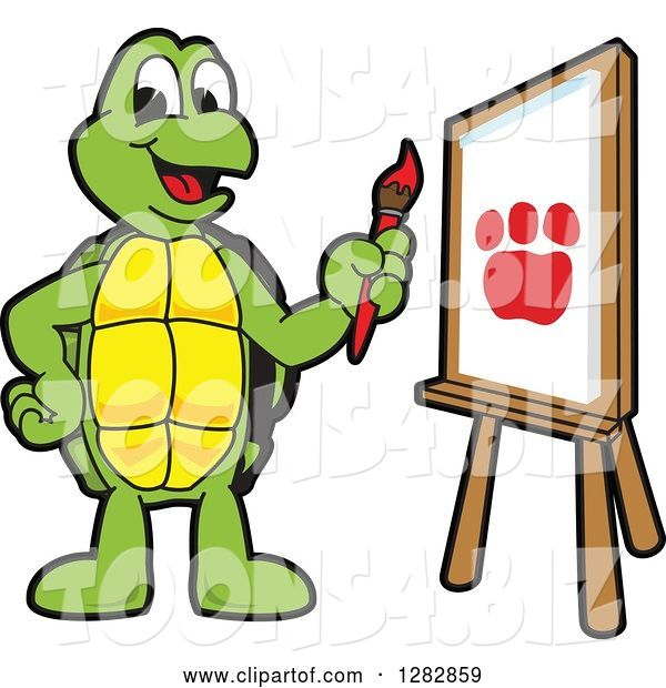 Vector Illustration of a Cartoon Turtle Mascot Painting a Paw Print on an Art Canvas