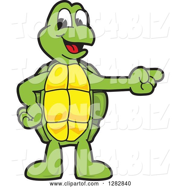 Vector Illustration of a Cartoon Turtle Mascot Pointing to the Right