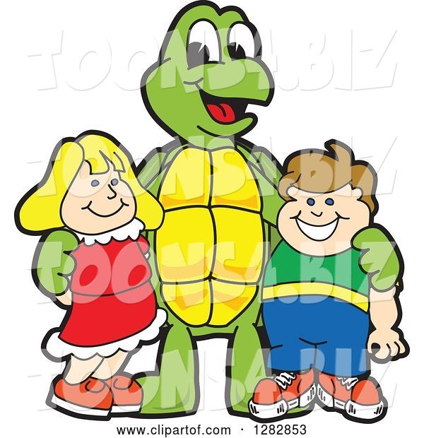 Vector Illustration of a Cartoon Turtle Mascot Posing with Students