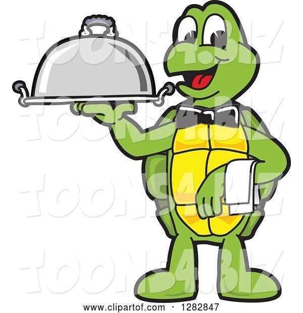 Vector Illustration of a Cartoon Turtle Mascot Waiter Holding a Cloche Platter