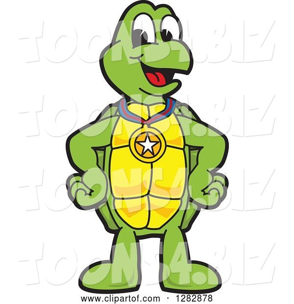 Vector Illustration of a Cartoon Turtle Mascot Wearing a Medal