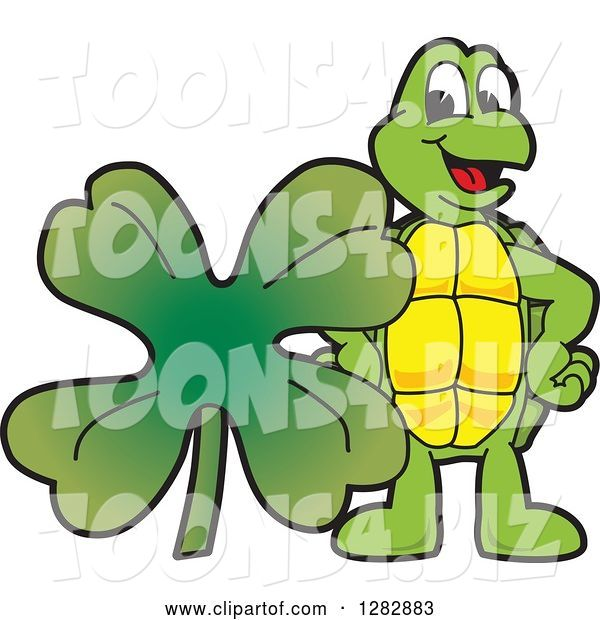 Vector Illustration of a Cartoon Turtle Mascot with a St Patricks Day Four Leaf Clover Shamrock