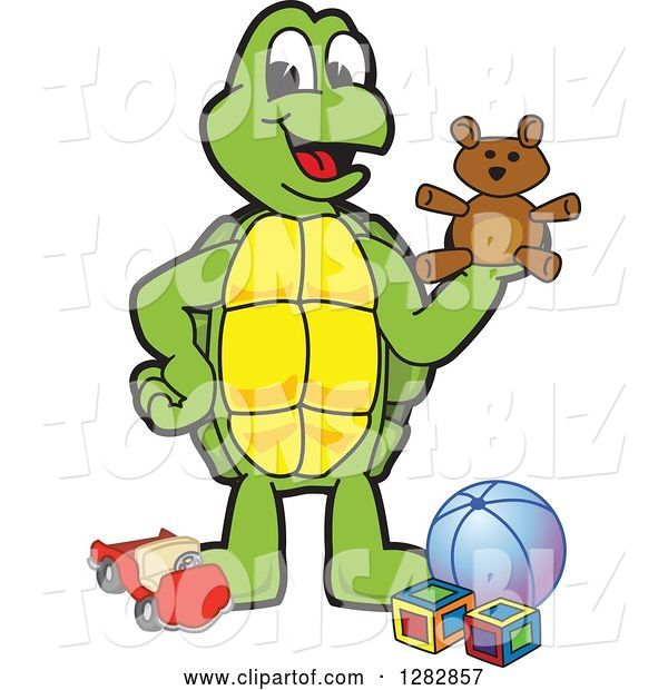 Vector Illustration of a Cartoon Turtle Mascot with Toys