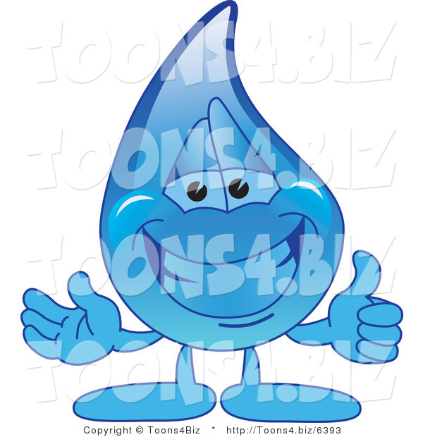 Vector Illustration of a Cartoon Water Drop Mascot Holding a Thumbs up