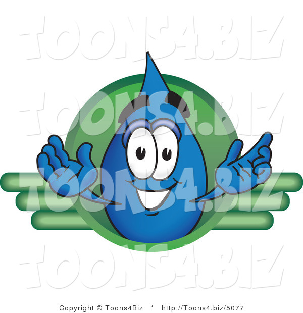 Vector Illustration of a Cartoon Water Drop Mascot on a Green Business Logo