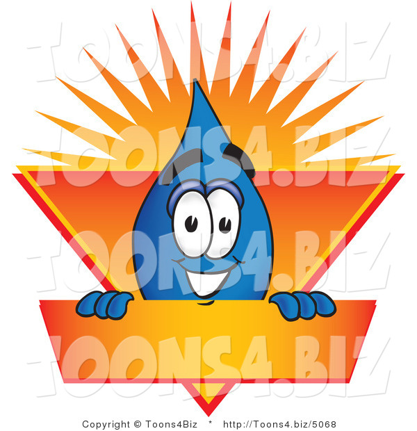 Vector Illustration of a Cartoon Water Drop Mascot on an Orange and Yellow Label