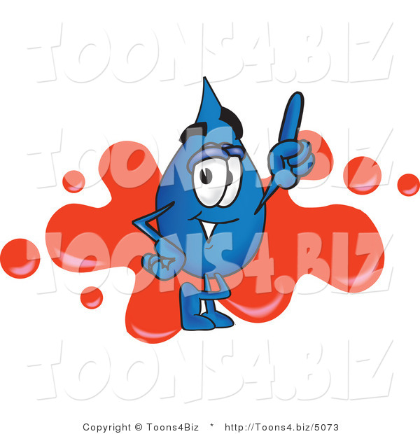 Vector Illustration of a Cartoon Water Drop Mascot Pointing up and Standing in Front of a Red Paint Splatter on a Business Logo