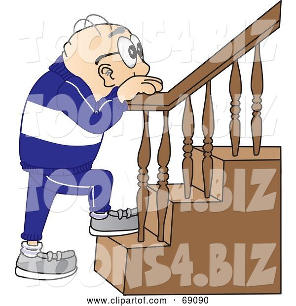 Vector Illustration of a Cartoon White Male Senior Citizen Mascot Climbing Stairs