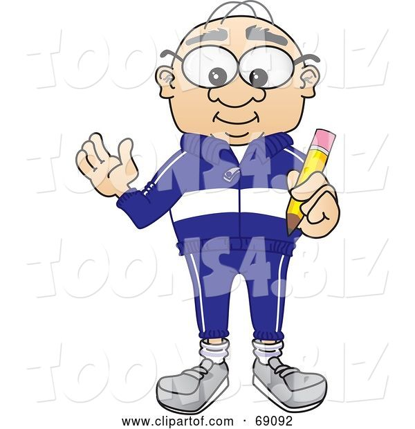Vector Illustration of a Cartoon White Male Senior Citizen Mascot Holding a Pencil