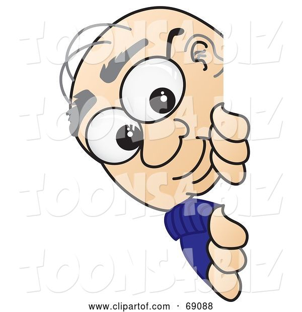 Vector Illustration of a Cartoon White Male Senior Citizen Mascot Looking Around a Sign