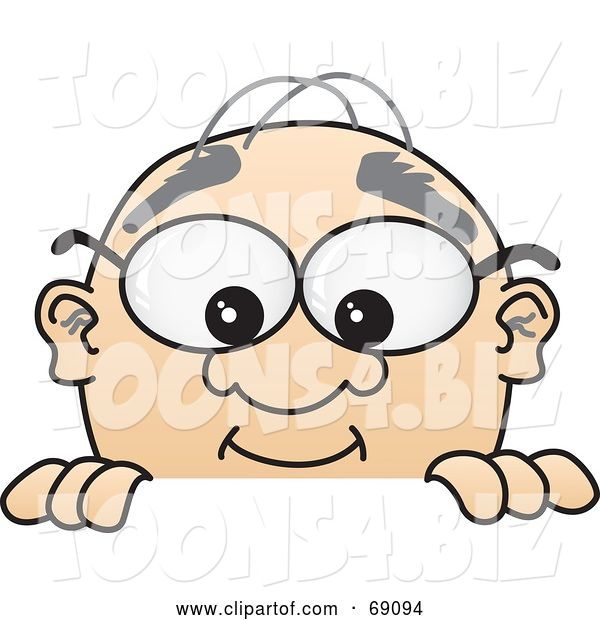 Vector Illustration of a Cartoon White Male Senior Citizen Mascot Looking over a Sign
