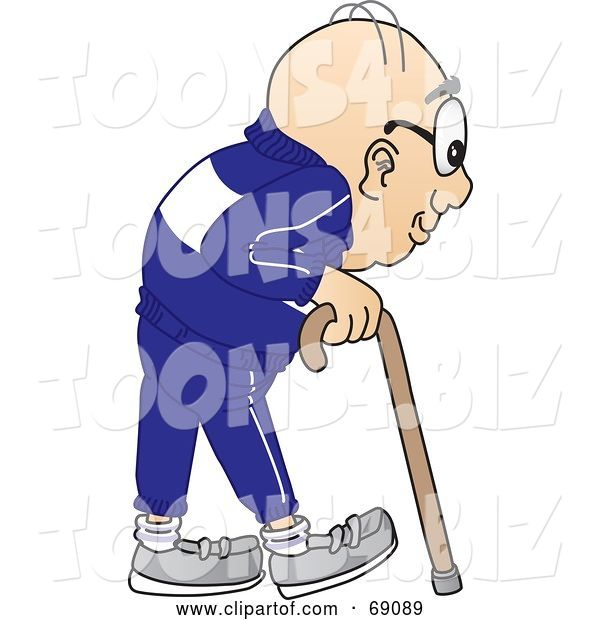 Vector Illustration of a Cartoon White Male Senior Citizen Mascot Using a Cane