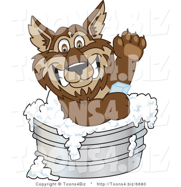 Vector Illustration of a Cartoon Wolf Mascot Bathing with Soap in a Metal Tub