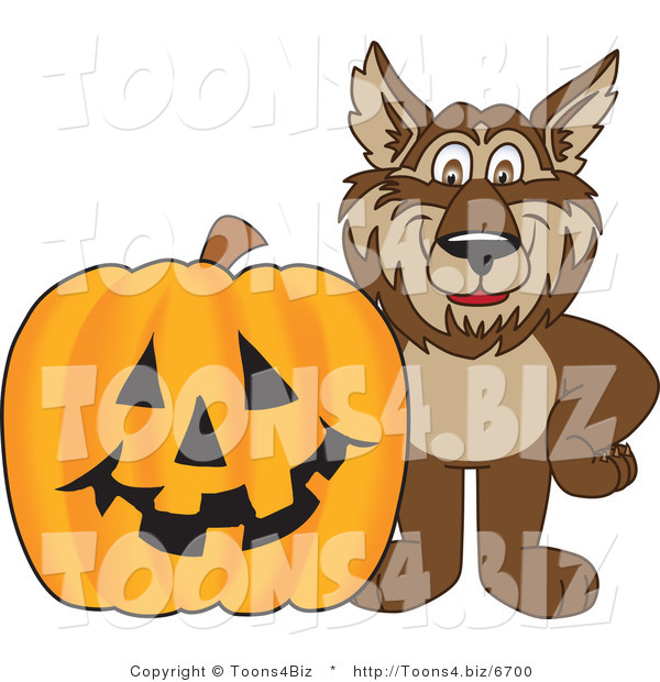 Vector Illustration of a Cartoon Wolf Mascot by a Halloween Pumpkin