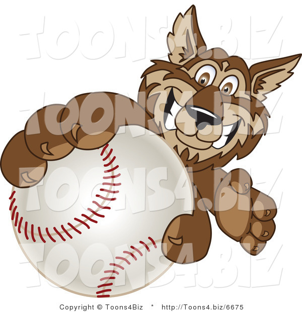 Vector Illustration of a Cartoon Wolf Mascot Grabbing a Baseball