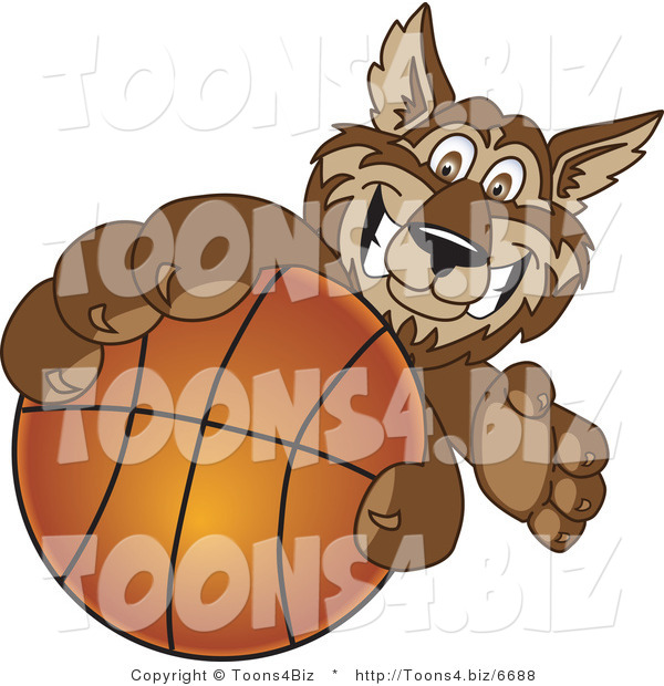 Vector Illustration of a Cartoon Wolf Mascot Grabbing a Basketball