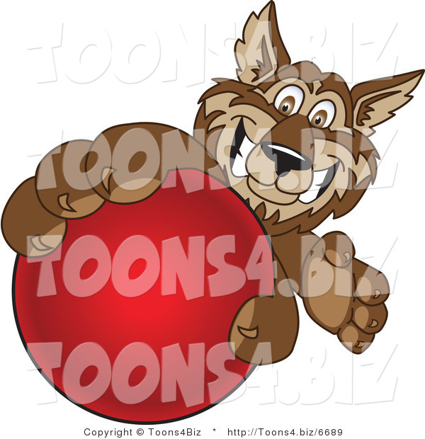 Vector Illustration of a Cartoon Wolf Mascot Grabbing a Red Ball