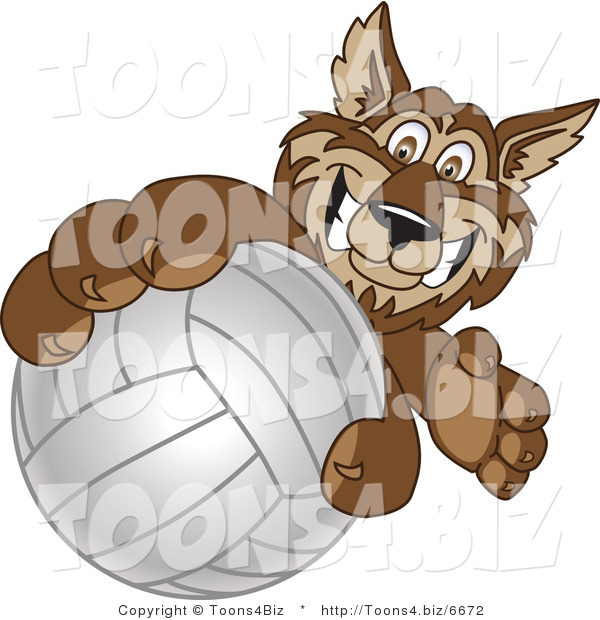 Vector Illustration of a Cartoon Wolf Mascot Grabbing a Volleyball