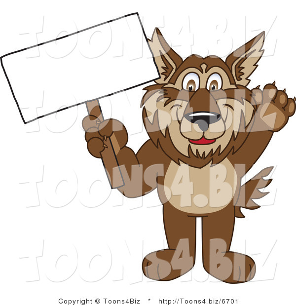 Vector Illustration of a Cartoon Wolf Mascot Holding a Blank Sign